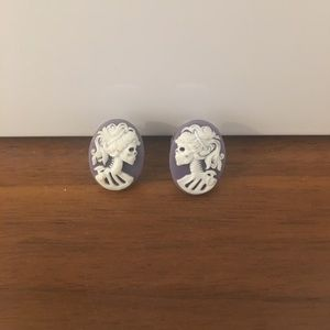 Skeleton Cameo Earrings